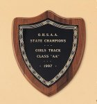 American Walnut Shield Plaque with a Black Brass Plate Walnut Plaques