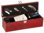 Burl Wood Finish Single Wine Bottle Presentation Box with Tools Wine Gifts