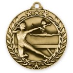 2 3/4 Female Gymnastics Wreath Medallion Wreath Antique Medal Awards